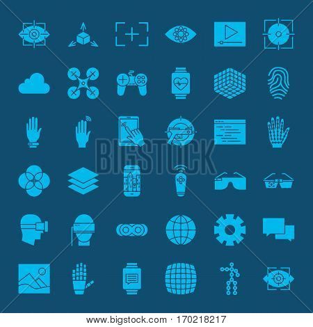 Virtual Reality Glyphs Website Icons. Vector Set of Modern Augmented Technology Symbols.