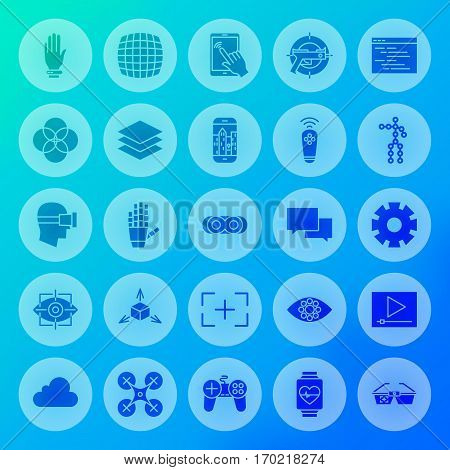 Virtual Reality Solid Circle Icons. Vector Illustration of Augmented Technology Glyphs over Blurred Background.