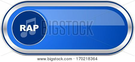 Rap music long blue web and mobile apps banner isolated on white background.