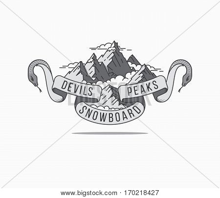Vector winter sport devils peaks snowboard concept