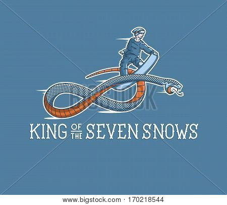 Vector winter sport king of the seven snows