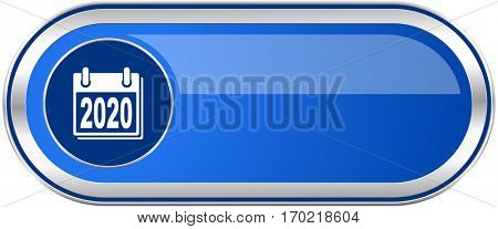 New year 2020 long blue web and mobile apps banner isolated on white background.