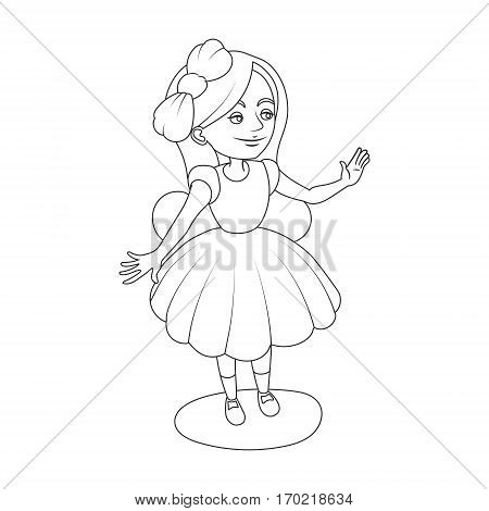 Alice wonderland girl coloring book vector illustration. Black and white lines. Lace pattern