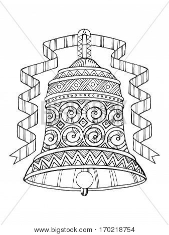 Bell coloring book vector illustration. Coloring book. Black and white lines. Lace pattern