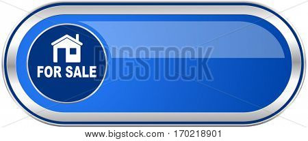 For sale long blue web and mobile apps banner isolated on white background.