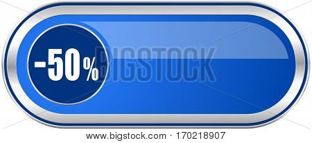 50 percent sale retail long blue web and mobile apps banner isolated on white background.