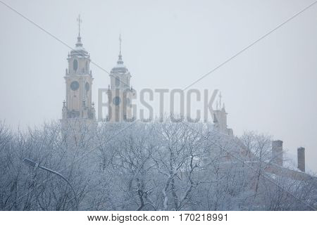 Dull And Foggy Winter Day In Vilnius, Lithuania