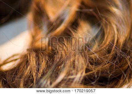 long brown hair as background macro shot