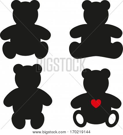 Simple silhouettes of Teddy Bear. Vector illustration on white background