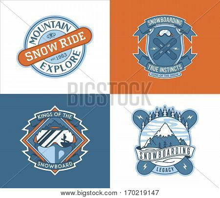 Vector winter sport snowboarding badges and labels