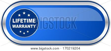 Lifetime warranty long blue web and mobile apps banner isolated on white background.