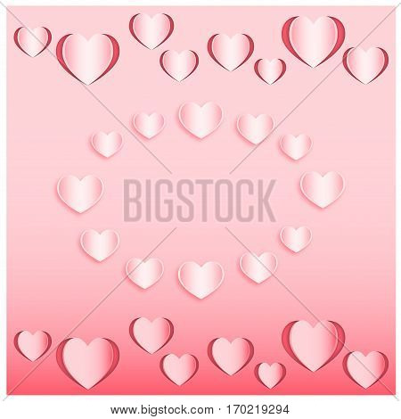 Set of the hearts cut out from pink paper. Vector illustration EPS10. Paper cutout art style for Valentine s day or wedding design
