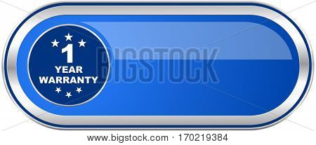 Warranty guarantee 1 year long blue web and mobile apps banner isolated on white background.