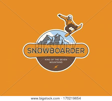 Vector winter sport snowboarding extreme fly concept
