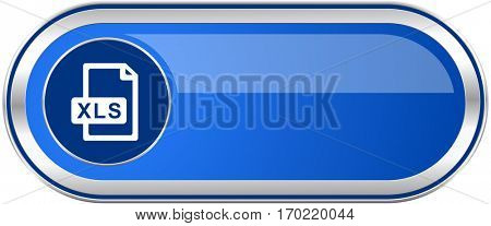 Xls file long blue web and mobile apps banner isolated on white background.