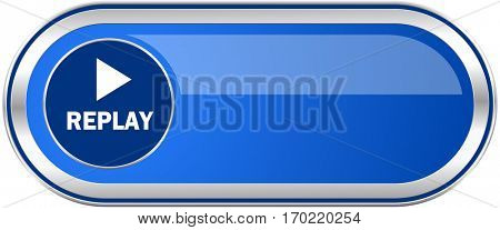 Replay long blue web and mobile apps banner isolated on white background.