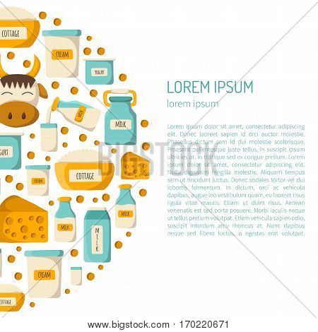 Vector illustration with cartoon milk products background. Milk intolerance or lactose free concept. Vector cartoon dairy products. Natural organic milk production. Farm diary production background