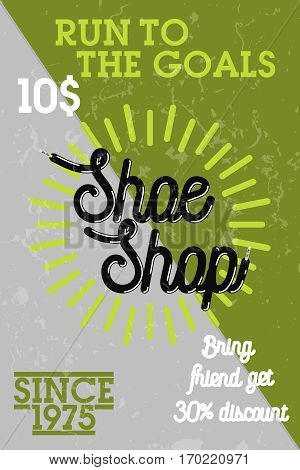 Color vintage shoe shop banner for shoemaker and shoes repair