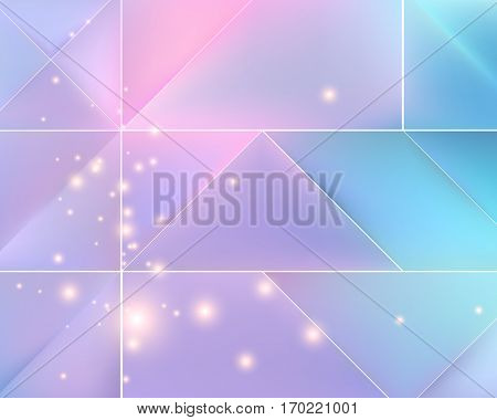Lilac and blue mosaic background with light effects. Neutral vector background.