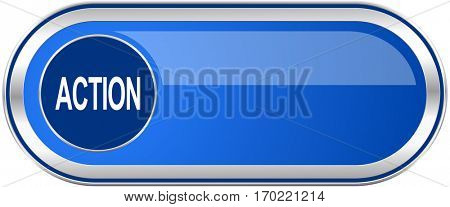 Action long blue web and mobile apps banner isolated on white background.