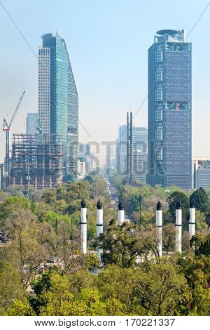 View of Paseo de la Reforma in Mexico City from Chapultepec Castle