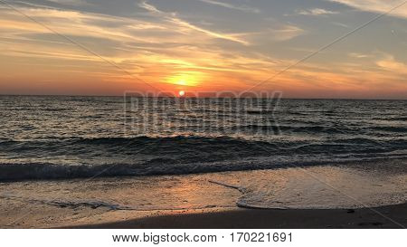 A beautiful sunset in Lido Beach, Florida.
