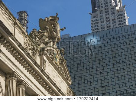 New York USA november 2016: Exterior Clock of Grand Central Terminal Station in New York. Grand Central Terminal is the busiest train station in the United States.