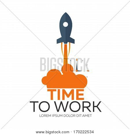 Time To Work. Time Management. Watch. Vector Flat Illustration.