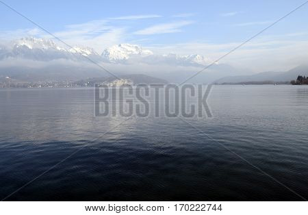 Annecy Lake And Snow, Winter, France
