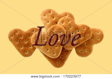 food cookies hearts love decoration close-up yelow background