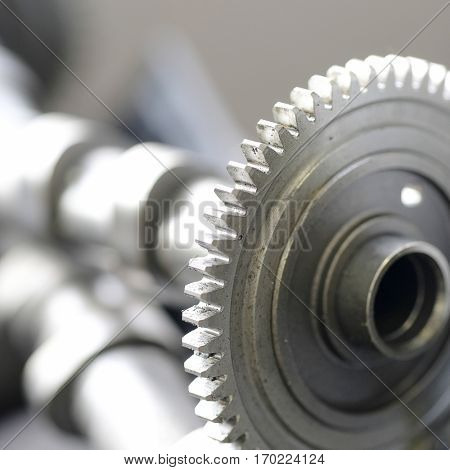 close up toothed wheel of a car camshaft