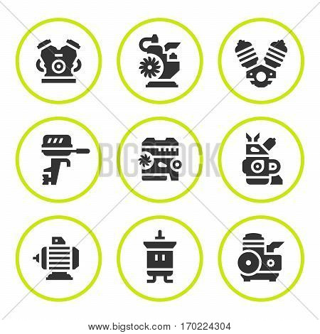 Set round icons of motor and engine isolated on white. Vector illustration