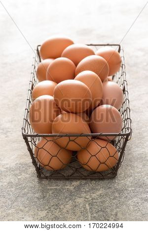Chicken Wire Tray Filled With Brown Eggs
