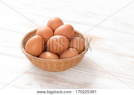 Brown Hen Eggs In Woven Wicker Tray