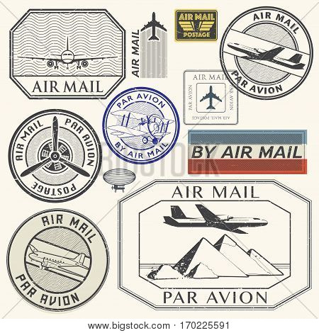 Grunge rubber ink stamps set with plane and the text air mail par avion written inside the stamp vector illustration