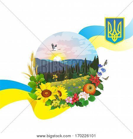 landscape on Ukraine on a white background
