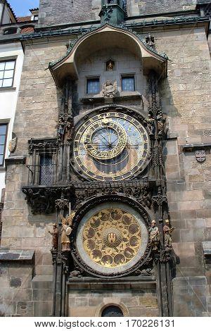 Astronomical clock in downtown Prague, Czech Republic.