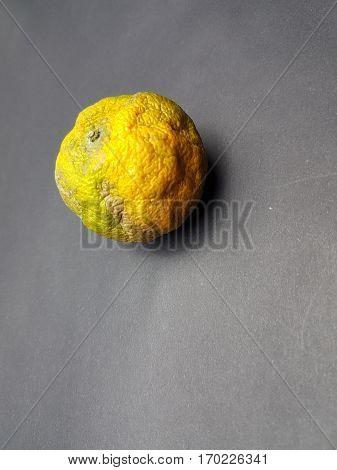 Rotten orange on black paper texture background