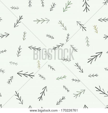 Fur tree seamless pattern. Simple minimalist hand drawn natural design.