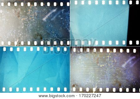 Set of colorful moldy film textures with lots of grain dust and scratches