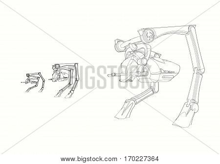 Science Fiction  CAD Design - Line Drawing of  3  Walker Vehicle  origInal design produced on 3D CAD.
