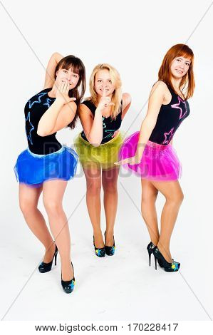 Trio of young beautiful woman in dance costume