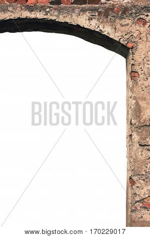 Barn gate door arch frame stone wall closeup vertical isolated copy space plastered grunge red brick stonewall old aged beige lime plaster texture grungy textured vintage rough rustic bricks brickwork