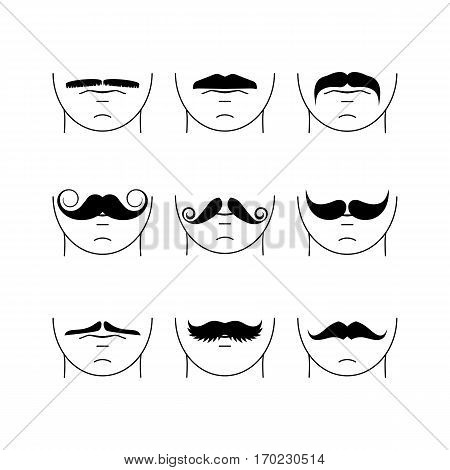 Big set of hipster mustache. Collection of cartoon barber silhouette hairstyl . Various types of whiskers