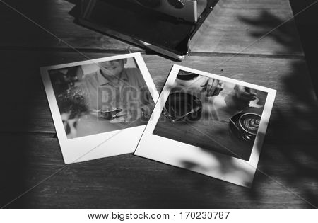 Printed instant photo on the table