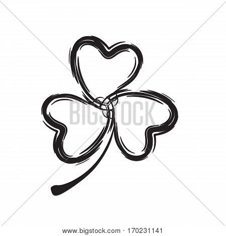 Shamrock Icon for St. Patrick Day. Trefoil Illustration Isolated on White Background
