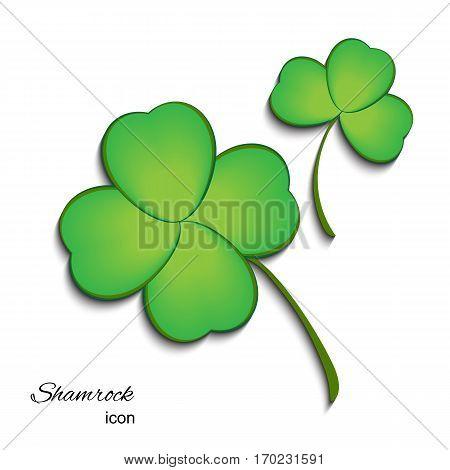 Shamrock Icon for St. Patrick Day. Trefoil Illustration Isolated on White Background