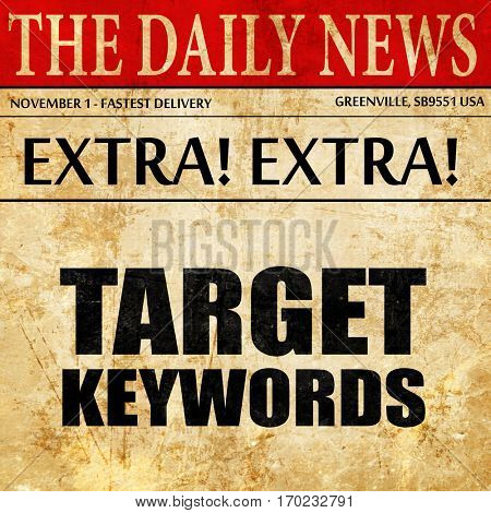 target keywords, newspaper article text