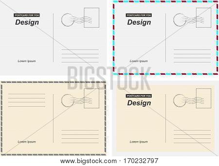 Set vector postcards. Postal card for travel. Template design for your cards.