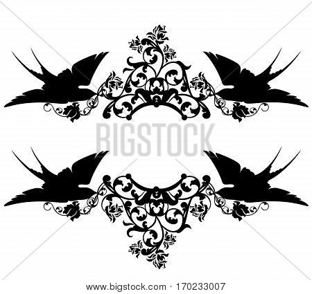 swallow birds holding rose flowers decor - black and white vector design